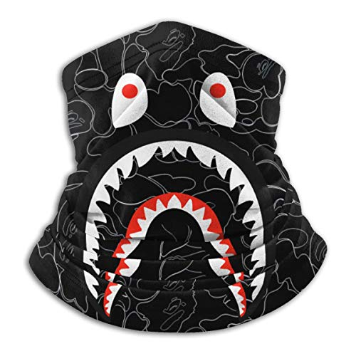 Bape Camo Blood Shark Microfiber Neck Warmer,Sports Face Guards,Windproof Dust Proof Mouth Face Mask Magic Scarf Balaclava