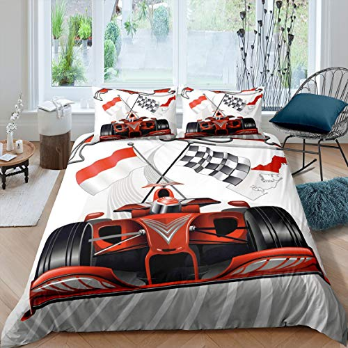 Race Car Bedding Set Red Formula Sports Car Duvet Cover for Kids Boys Youth Man Teens Cool Speed Racing Car Comforter Cover Extreme Sports Theme Bedspread Cover Room Decor 2Pcs Twin Size,Zipper