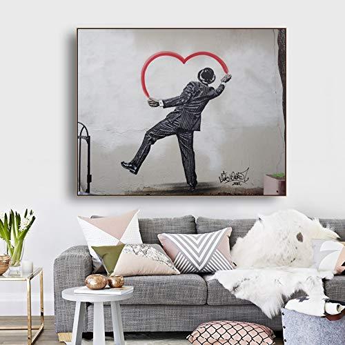 BailongXiao Imagen de decoración de póster de caligrafía de Lona en Forma de corazón decoración de Arte de Pared decoración de Sala de Estar,Pintura sin Marco,40x50cm
