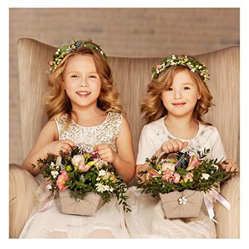 VOSAREA 1PC Vintage Burlap Flower Girl Basket Western Rustic Lace Bowknot Wedding Burlap Basket with Handle