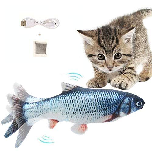 Flysee Catnip Giocattoli per Gatti, Giocattoli Elettrici per Pesci, Simulazione Peluche di Pesce, Gioco Gatto interattivo USB Cat