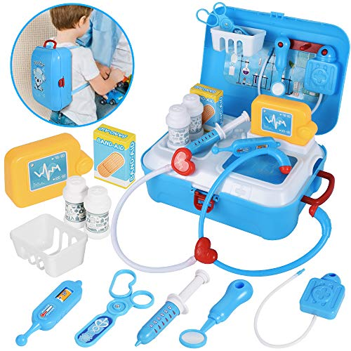 Doctor Kit for Kids ,17 pcs Realistic Pretend Kid Doctor Play Set, Medical Kit With Portable Backpack , Educational Toy Set for Age 3 Years and Up,Best Present for Boys and Girls