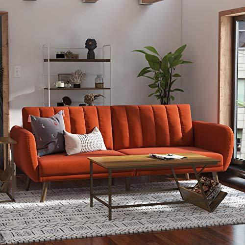 Novogratz Brittany Sofa Futon - Premium Upholstery and Wooden Legs - Persimmon Orange