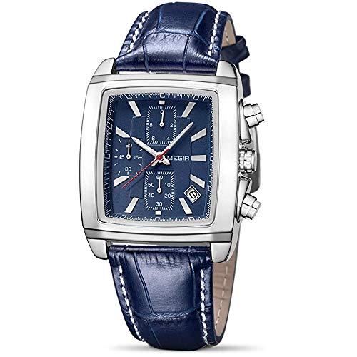 MEGIR Relógio masculino com cronógrafo esportivo, com pulseira de couro elegante (azul e prata)