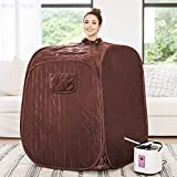 langomke Portable Steam Sauna,Indoor Sauna for Relaxation,Weight Loss,Detox with 2L Steam Pot,Folding Chair,Remote Control&Big Tent (Coffee)
