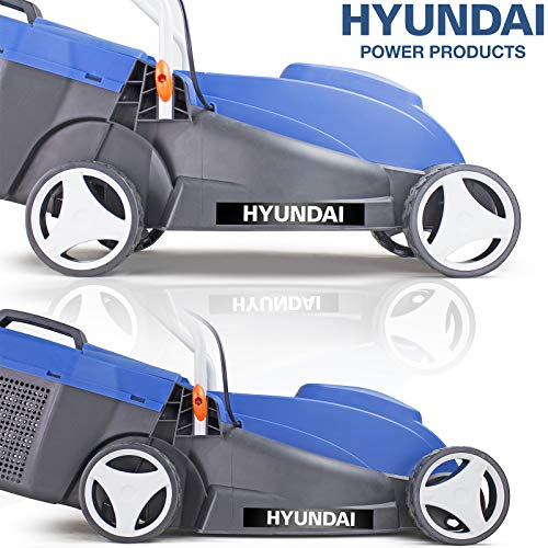 Hyundai HYM3200E 32cm Lightweight Rotary, 320mm Cutting Width 1000w Electric Lawnmower, 25L Grass Bag, Corded Lawn Mower, Easy Storage, 3 Year Warranty, Mowers & Outdoor Power Tools, Blue