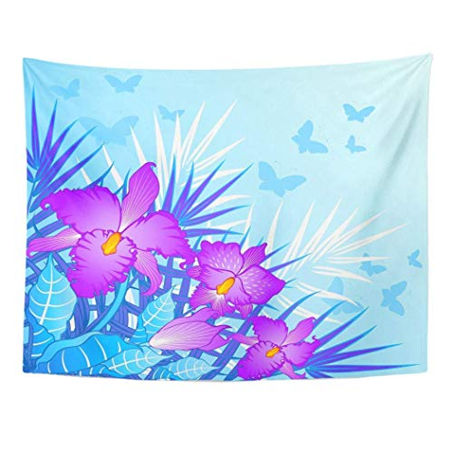 Elinna Decor Wall Tapestry Blossom Beautiful Orchids and Butterflies Bouquet Butterfly Doily Floral 80 X 60 Inches Wall Hanging Picnic for Bedroom Living Room Dorm 60x51in(130x150cm)