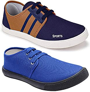 Shoefly Men's Multi-Coloured Canvas Casual Shoes/Loafers - Pack of 2 (Combo-(2)-1167-5014)