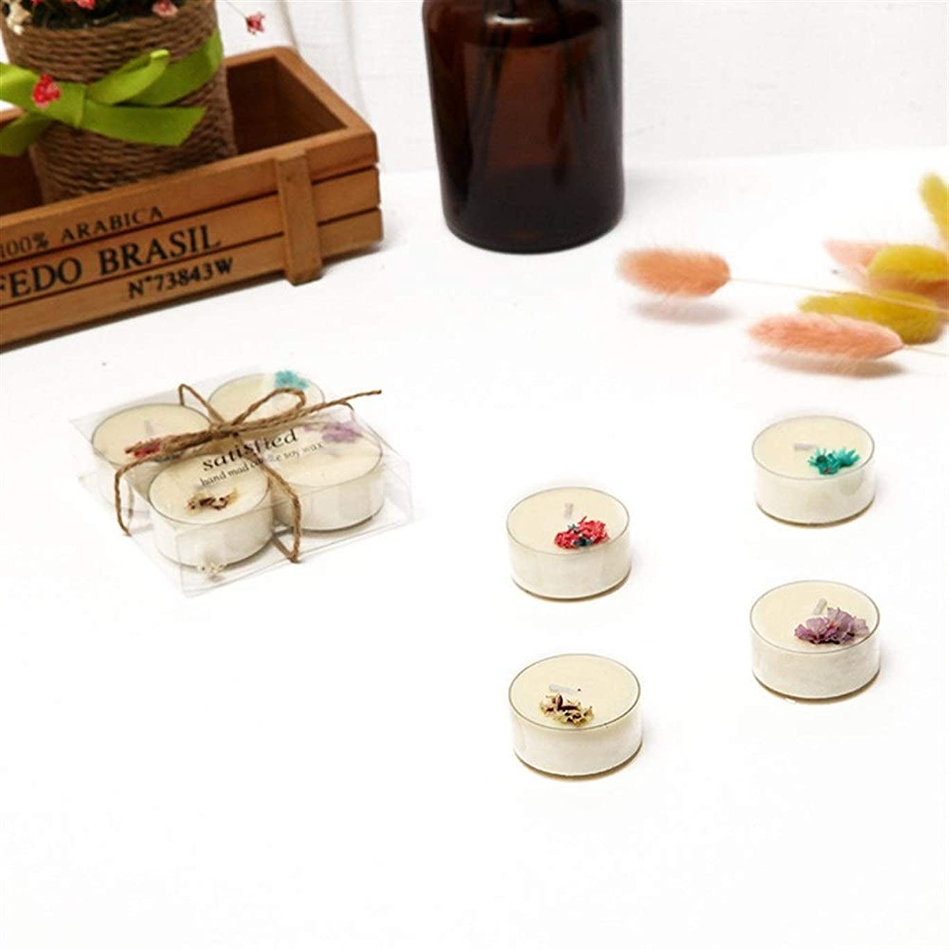 不良品ヒロイン申込みGuomao 4つの花小さな茶ワックスガラスボトルアロマセラピーガラスカップ非毒性環境保護 (色 : Lavender)