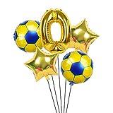 XIAOYAN Globos 6 unids / Lote 18 Pulgadas de fútbol fútbol Tema de fútbol Ronda Globos de lámina 32 Pulgadas Oro Plata número Globo Deporte Muchacho cumpleaños Fiesta Bolas ( Color : Laser )
