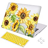 MacBook Air 13 inch Case, DQQH Rubber Coated Ultra Thin Protective Hard Shell Cover+Keyboard Cover for Older Version MacBook Air 13 inch Model A1369/A1466 Before 2018-Sunflower