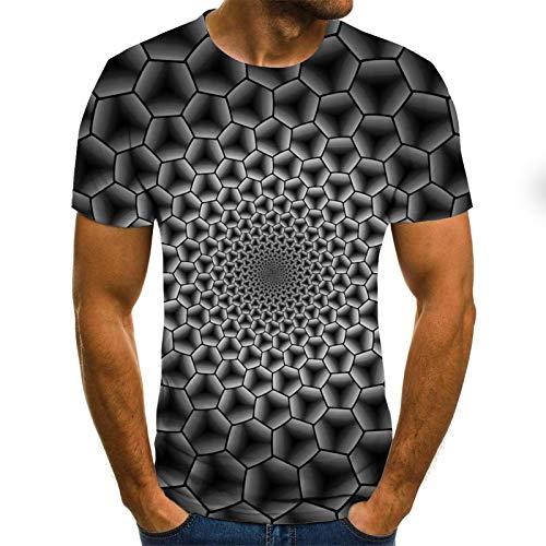 Manga Corta Verano Colorida Impresión 3D De Manga Corta Camiseta De Los Hombres Camiseta Casual De Cuello Redondo Divertido Patrón De Vi