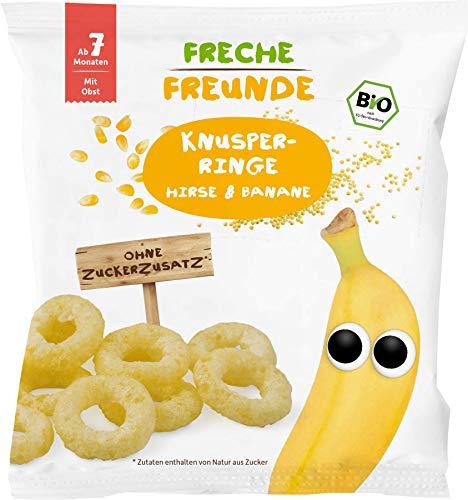 FRECHE FREUNDE Bio Knusper-Ringe Hirse & Banane, Knuspersnack für Babys ab dem 7. Monat, vegan & glutenfrei, 20 g