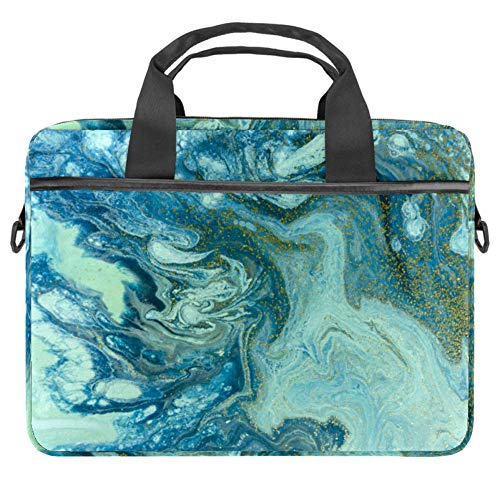 Marbled Blue and Golden Laptop Tote Bag Notebook Shoulder Bag Lightweight Multi-Pocket Business Work Office Briefcase for iPad Pro/Computer/MacBook