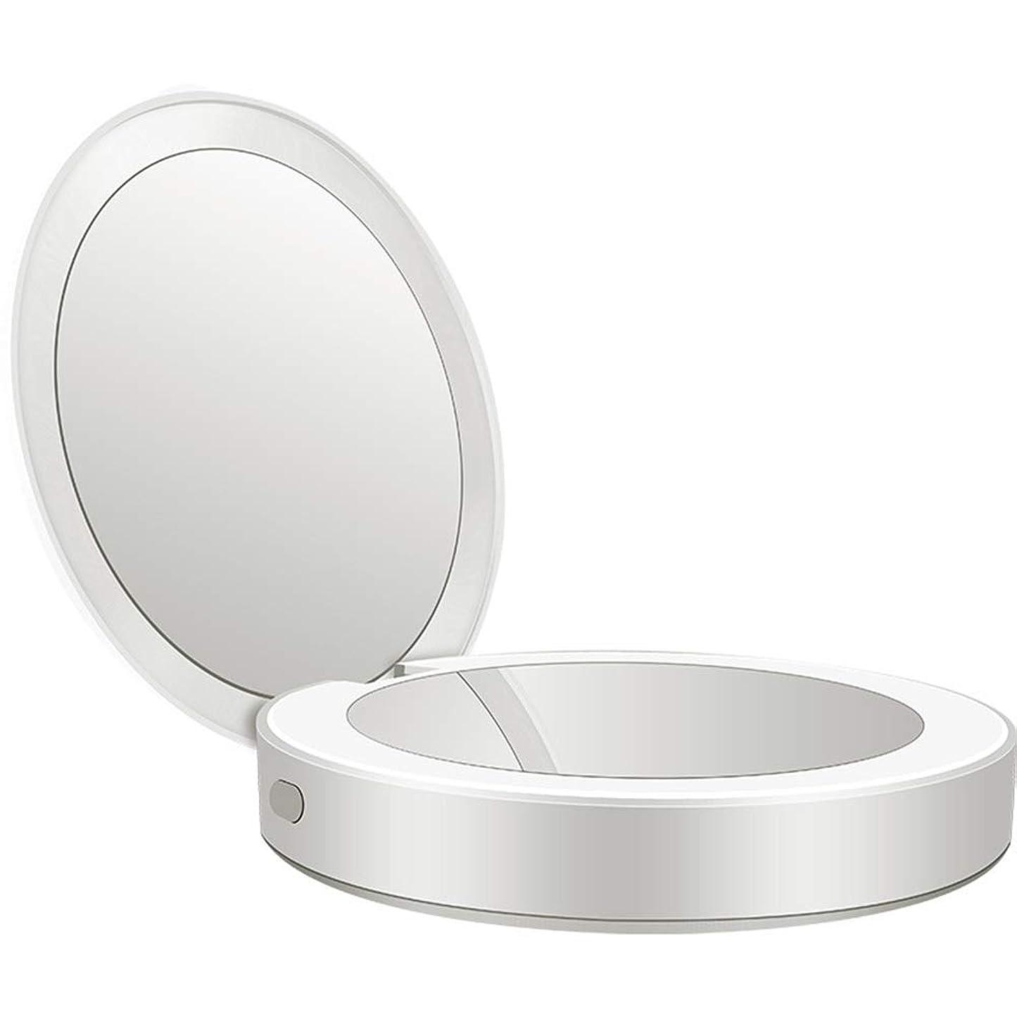 初期姪差し引く流行の 新しい多機能ポータブル折りたたみLEDライト化粧鏡フィルライト充電宝物鏡ABS素材ギフトギフトライト充電虫眼鏡 (色 : Silver)