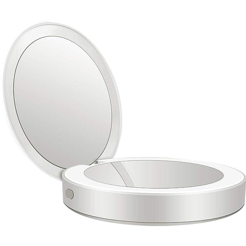 影響ステップ生活流行の 新しい多機能ポータブル折りたたみLEDライト化粧鏡フィルライト充電宝物鏡ABS素材ギフトギフトライト充電虫眼鏡 (色 : Silver)