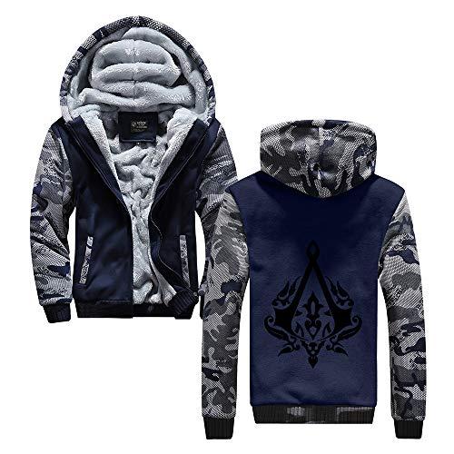 HOOMOLO Assassin's Creed Pullover Mantel mit Kapuze Herren-Oberbekleidung beiläufige Halten Gedruckt im Winter warm Zipper-Jacke Unisex (Color : Blue06, Size : M)