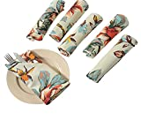 ShalinIndia Patterned Cloth Napkins Set of 12 Cotton - 20' x 20' - Premium Table Linens for The Dining Room -Pink, Lilac, Green and Beige Floral