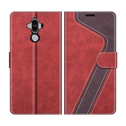 MOBESV Handyhülle für Huawei Mate 9 Hülle Leder, Huawei Mate 9 Klapphülle Handytasche Hülle für Huawei Mate 9 Handy Hüllen, Modisch Rot