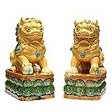 OHHG Decoración Interiores, Adornos león cerámica, par estatuas león guardián Perros Fu Foo, Mejor Regalo felicitación inauguración la casa protegerse la energía maligna, Altura: 26 cm/10 Pulgadas