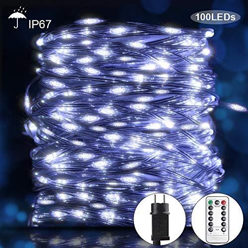 DreiWasser Lichterkette 100 LEDs 10M mit Adapter und Fernbedienung Kaltweiß