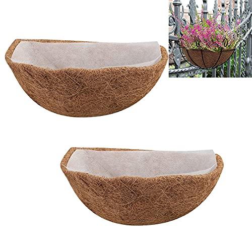 FAFAD - 2 fodere per fioriere da esterni in fibra di cocco spessa fodera in cocco semicerchio con rivestimento in tessuto non tessuto, per fioriere, recinzioni, cesto per fiori (30,5 cm)