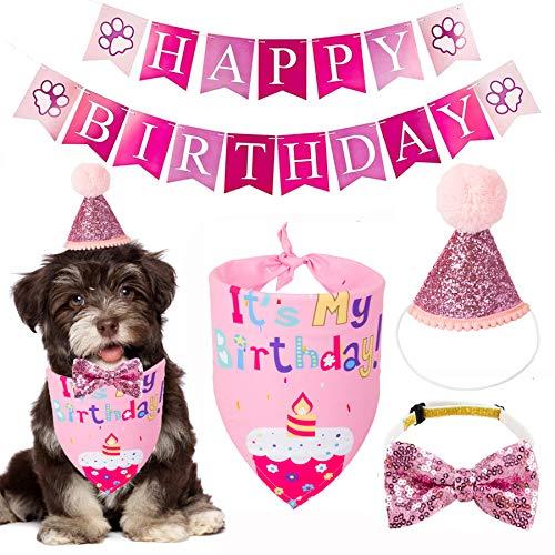 Dog Birthday Bandana Set, Dog Birthday Party Supplies, Birthday Girl Dog Bandana Hat Dog Bow Tie Happy Birthday Banner Dog Girl First Birthday Outfit (Pink)
