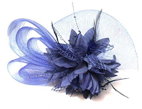 Fascinator / Haarreif, mit Schleife, Netzstoff, Marineblau, Dunkelblau