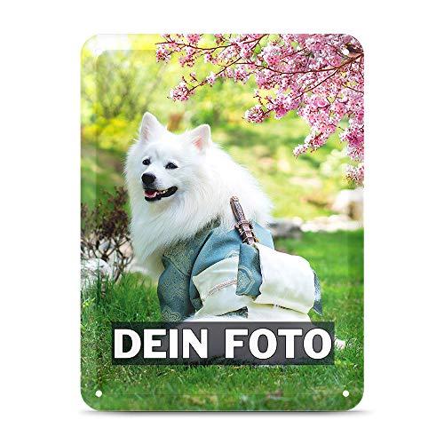 Tassendruck Blech-Schild mit Foto und Text selbst gestalten/Personalisierbar mit eigenem Bild als Metall-Poster / A5 (15x21cm) im Hochformat/Weiss