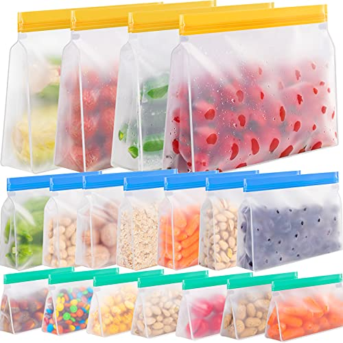Reusable Storage Bags Stand Up, 18 Pack Reusable Sandwich Bags, Reusable Freezer Lunch Bags,...