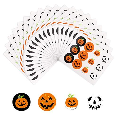 QWEF 240 Stücke Halloween Papier Geschenk Tasche Aufkleber Süßes oder Saures Tasche Party Gefallen Kürbis Sticker Dekoration für Halloween Supplies