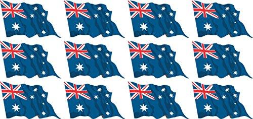Mini Fahnen - Flaggen Set wehend - Pack wehend - 50x31mm - Aufkleber - Australien - Sticker fürs Büro, Schule und zu Hause - 12 Stück