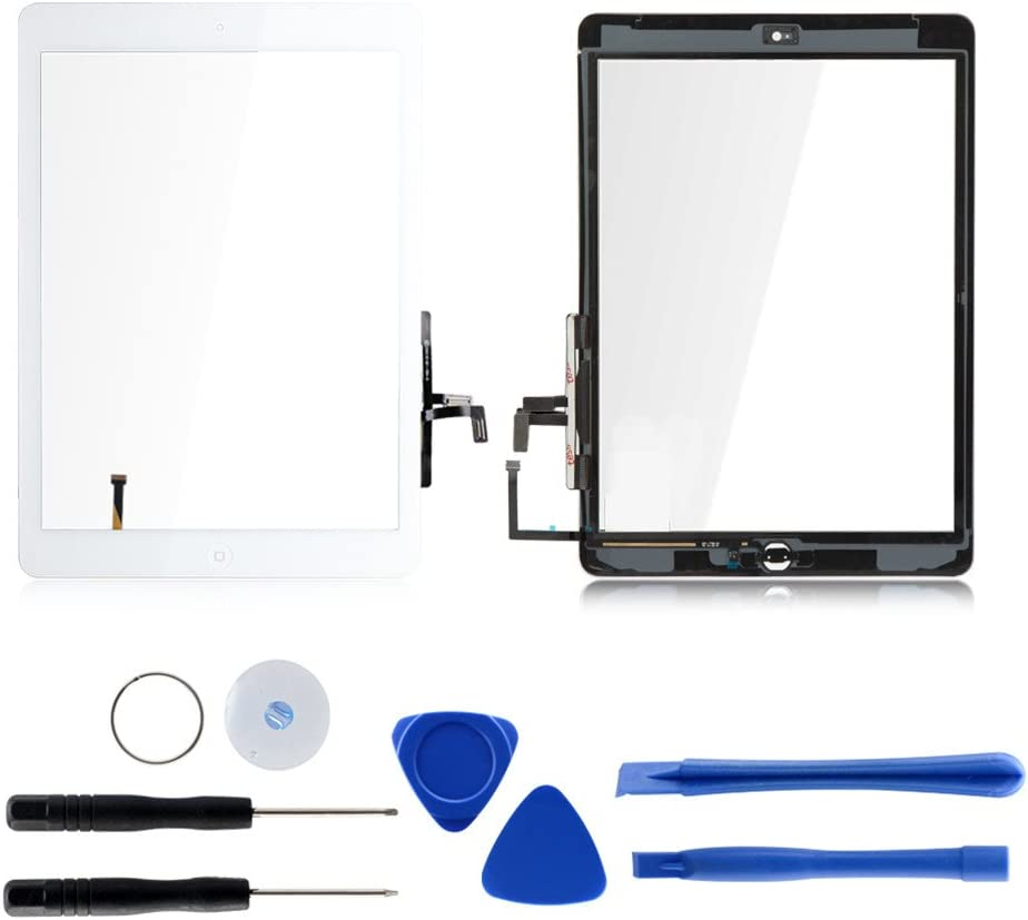 Touch Screen Digitizer Replacement for iPad air 1st Generation A1474 A1475 A1476 GSM CDMA, 9.7 Inches Front Glass Repair Kit Include Home Button and pre-Install Adhesives (White)