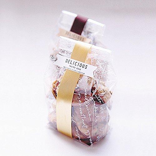 Bolsas de plástico transparente para galletas con inserciones doradas, celofán transparente, paquete de 100 juegos