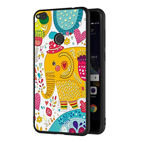 ZhuoFan Funda Huawei P8 Lite 2017 Cárcasa Silicona Ultrafina Negra con Dibujos Diseño 3D en Relieve Suave TPU Gel Antigolpes de Protector Piel Case Cover Fundas para Movil Huawei P8Lite, Elefante
