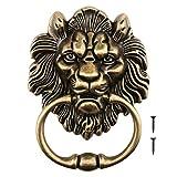 Llamador de cabeza de león de 15,8 cm con tornillos decorativos de aleación de bronce pulido, diseño clásico antiguo para puertas delanteras y porches principales. Accesorios