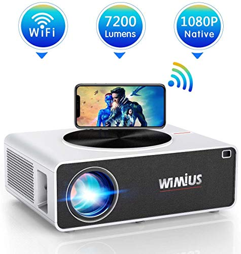 Proiettore WiFi,WiMiUS 7200 Lumen Videoproiettore Full HD Nativa 1920x1080P LED Proiettore Supporto 4K Schermo 300' per Home Cinema Theater Compatibile con Smartphone,Fire Stick,TV Stick, PC,PS4