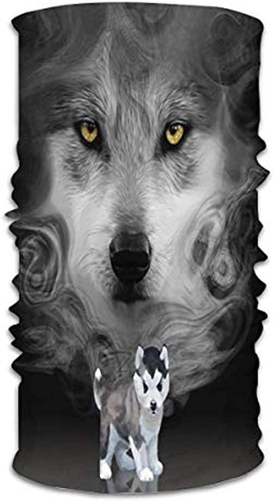 KiuLoam Cute Husky Dog Abstract Design Seamless Face Mask Bandanas Neck Gaiter for Men and Women, Multifunction Headband Scarf for Dust, Outdoors, Sports