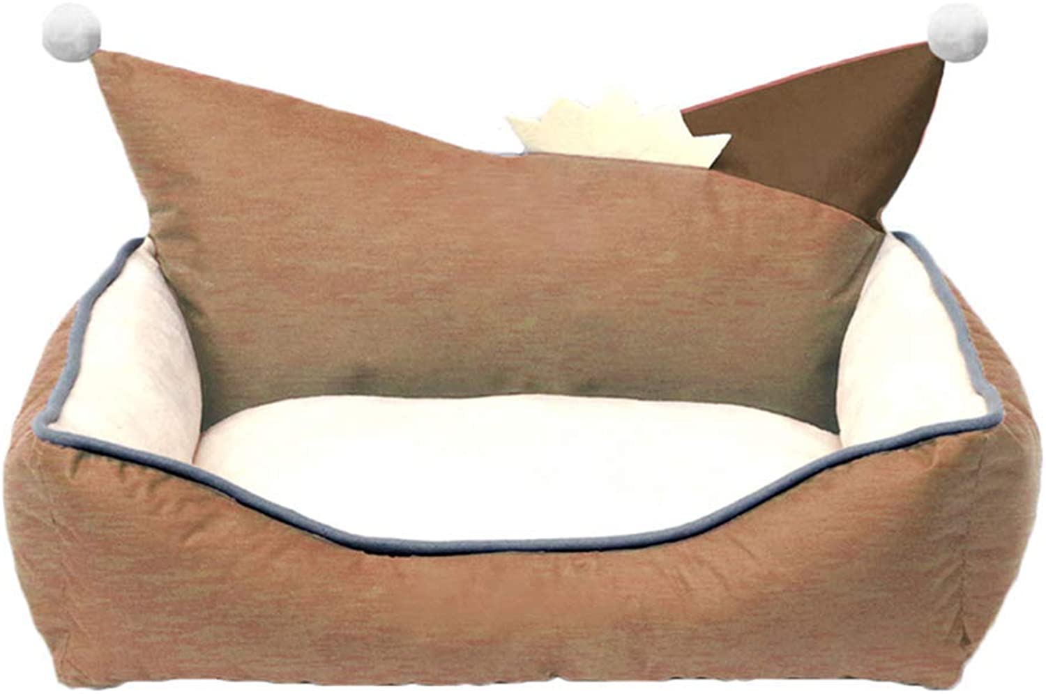 KYCD Dog Nest,Dog Bed,Soft Washable Warm Pet Sofa Cat Bed Cushion with EPE Pearl Cotton Lining,Four Seasons Usable,for Small Medium Dogs, Nonslip Oxford Cloth,Khaki (Size   50x40x20cm)