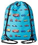 Aminata Kids - Kinder-Turnbeutel für Mädchen und Junge-n mit BAU-Fahrzeuge Feuerwehrauto Betonmischer Auto-s Sport-Tasche-n Gym-Bag Sport-Beutel-Tasche hell-blau rot gelb Bagger…