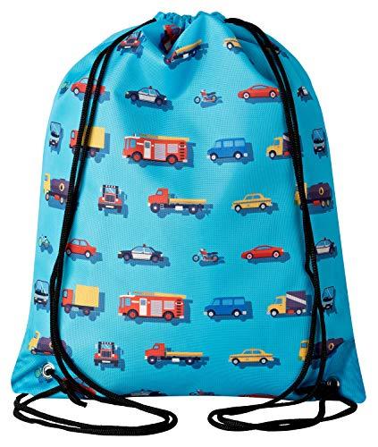 Aminata Kids Autos Turnbeutel für Kinder aus Nylon, reflektierend & wasserabweisend - unser Kindergarten Sportbeutel mit Auto-Motiv hat verstärkte Nähte...