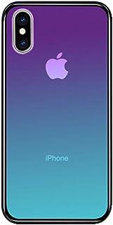 iPhone XS ケース iPhone X ケース LAYJOY アイフォンXS/X カバー 強化ガラスケース 透明 背面ハードガラス9H硬度 + ソフトTPUバンパー [耐衝撃 落下防止 軽量 レンズ保護] [Qi充電対応] iPhone XS/X 用 スマホケース (オーロラ)