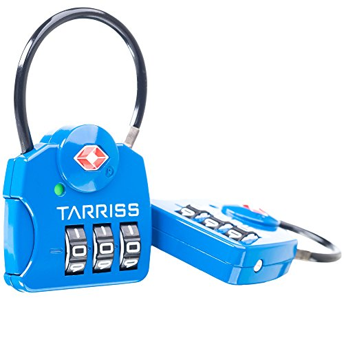 Tarriss TSA Luggage Lock with SearchAlert (2 Pack) (Blue)