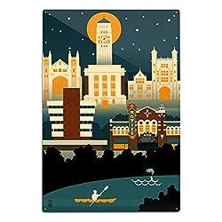Lantern Press Ann Arbor, Michigan - Retro Skyline (no Text) 66464 (6x9 Aluminum Wall Sign, Wall Decor Ready to Hang)