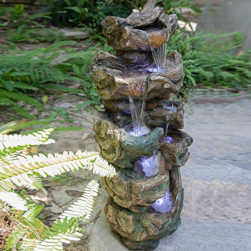 """VEAREAR Water Fountains Outdoor Fountain Decorations for Patio 40""""High Garden Fountain with LED Lights Stacked Simulated Rock Water Falls Soothing Tranquility Floor-Standing Fountain"""
