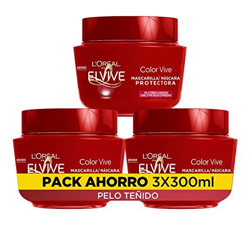 L Oreal Paris Elvive Color Vive Mascarilla Protectora, Para Pelos Teñidos o con Mechas, Pack de 3 Unidades x 300 ml, Total: 900 ml