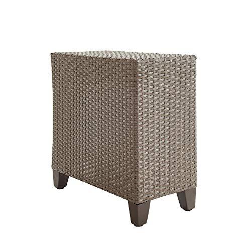 LOKATSE HOME Patio Wicker Rattan Outdoor Side Table, Brown