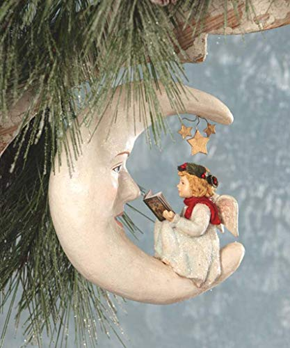 Bethany Lowe Storytime Angel Reading on The Moon 8' Christmas Ornament
