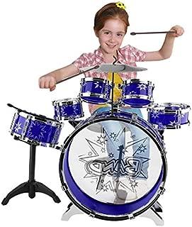 Mini Kids Junior Drum Kit Children Tom Drums Drumsticks Set For Toddlers Gift With Stool (Blue)