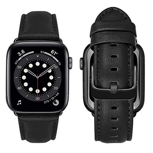 MroTech Amrband kompatibel mit Apple Watch Lederarmband 42mm 44mm Band echt Leder Uhrenarmband Ersatz für iWatch Series 6/SE Serie 5 4 3 2 1 Ersatzarmband Schwarz Schnalle 42/44 mm-Nappaleder Schwarz